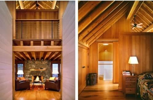chimenea y dormitorio casa de madera