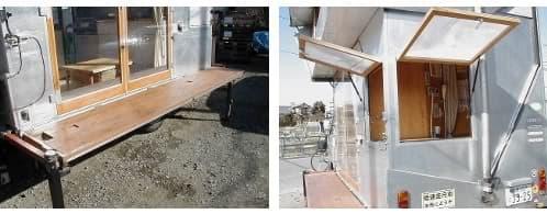 plataforma plegable y aseo con escotillas propias