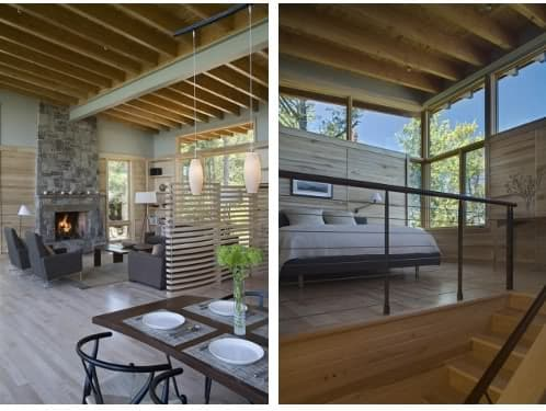 cabaña de madera en el lago. Interiores.