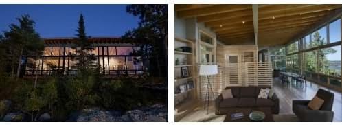 cabaña de madera con fachada norte acristalada