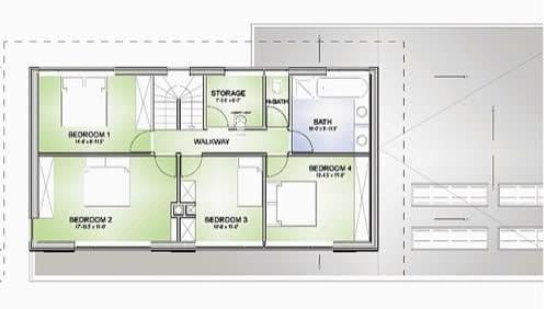 plano planta dormitorios casa verde