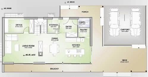 plano planta baja vivienda verde