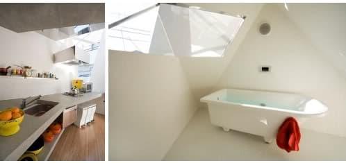 interiores de la casa mínima moderna Atelier Tekuto