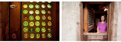puerta con vidrio reciclado de botellas