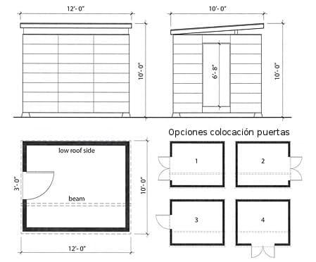 plano del cobertizo básico y opciones puertas