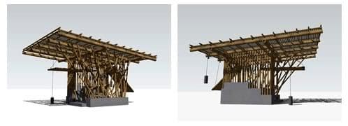 renders del refugio de bambú