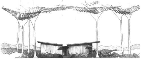dibujo mano alzada de la casa prefabricada un dormitorio