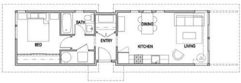 plano de casa prefabricada de 1 dormitorio