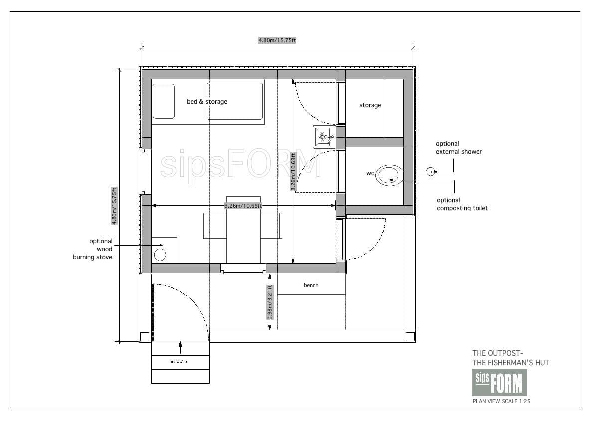 Planos de refugios y una oficina para el jard n for Planos de oficinas administrativas