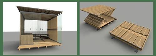refugio desplegable en madera y paneles policarbonato