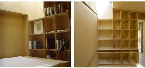 interior refugio de madera con estanterías