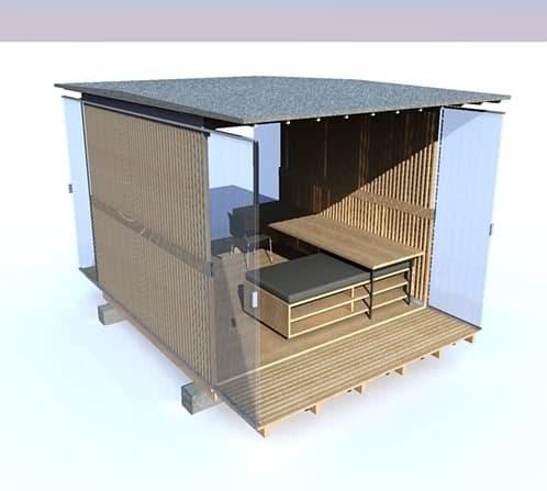 refugio-plegable-madera y policarbonato