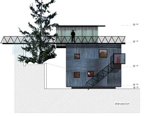alzado latera casa con pasarela