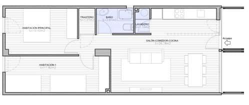 plano casa contenedor de dos dormitorios