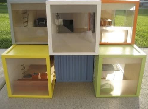 casas de muñeca de réplicas de contenedores