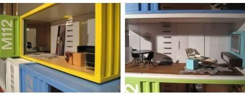 replicas a escala de viviendas hechas con contenedores
