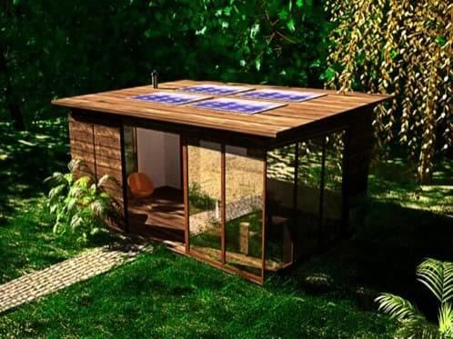 Cobertizo para oficina con estructura de aluminio y madera for Jardines pequenos para oficina