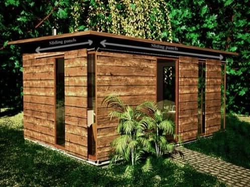 Cobertizo para oficina con estructura de aluminio y madera - Paneles madera jardin ...