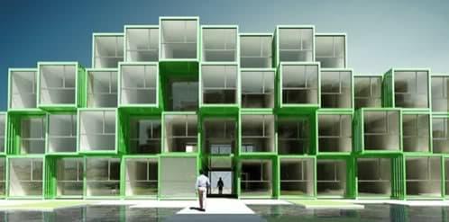 contenedores apilados para formar una residencia de estudiantes