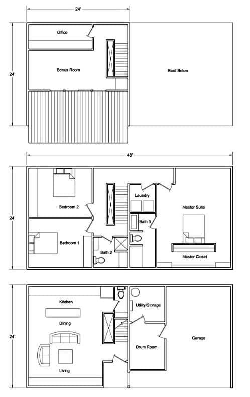 planos de planta de la casa prefabricada CL24