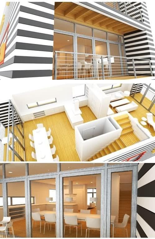 diferentes renders de la casa prefabricada H4