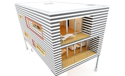 vista render del prototipo H4 de casa prefabricada de BRIO54