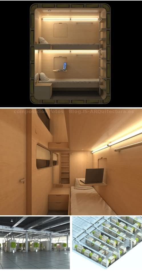 renders de los módulos sleepbox para albergues
