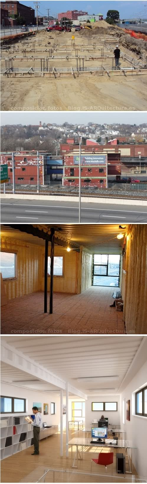 fotos de obra de edificio con contenedores de carga