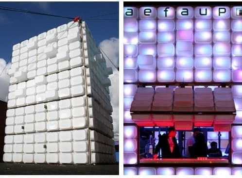 Bar temporal utilizando cajas de pl stico de ikea - Cajas de plastico ikea ...