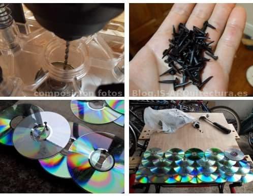 instrucciones para hacer un tejado con los viejos CDs