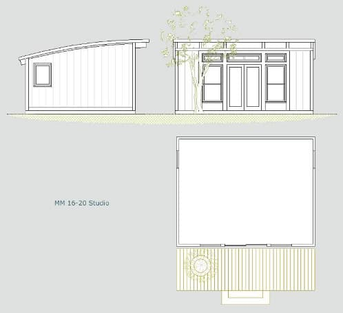 plano prefabricada estructura madera para oficina jardin