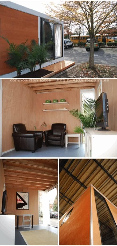 exterior interior de un cobertizo prefabricado greenbox