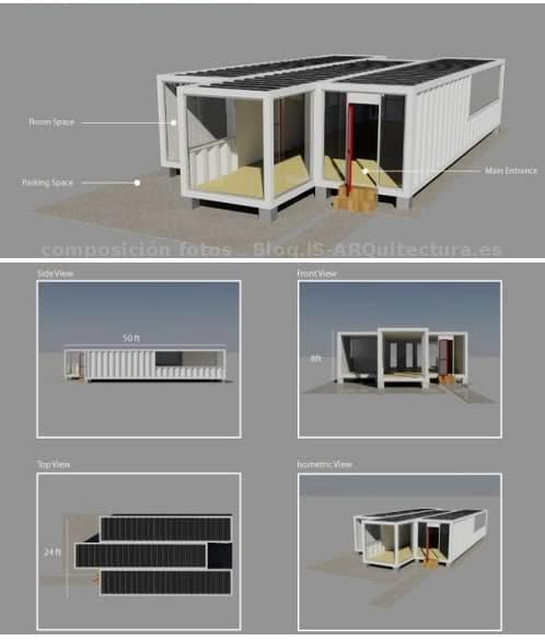 Vivienda prefabricada con 3 contenedores de 40 pies - Casas prefabricadas de contenedores ...