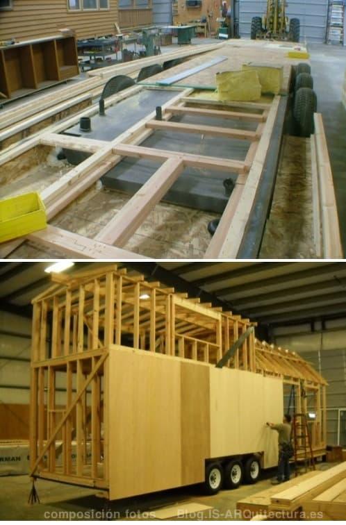 construcción de una casa de madera en un remolque