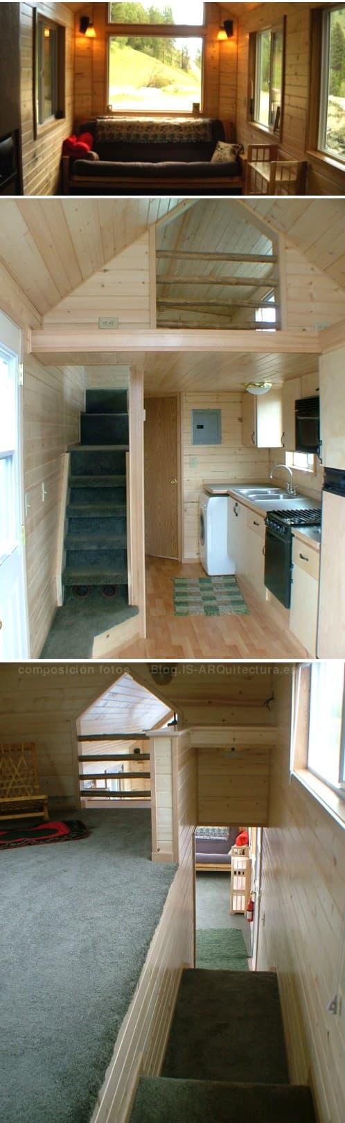 interior de una casa de madera portátil