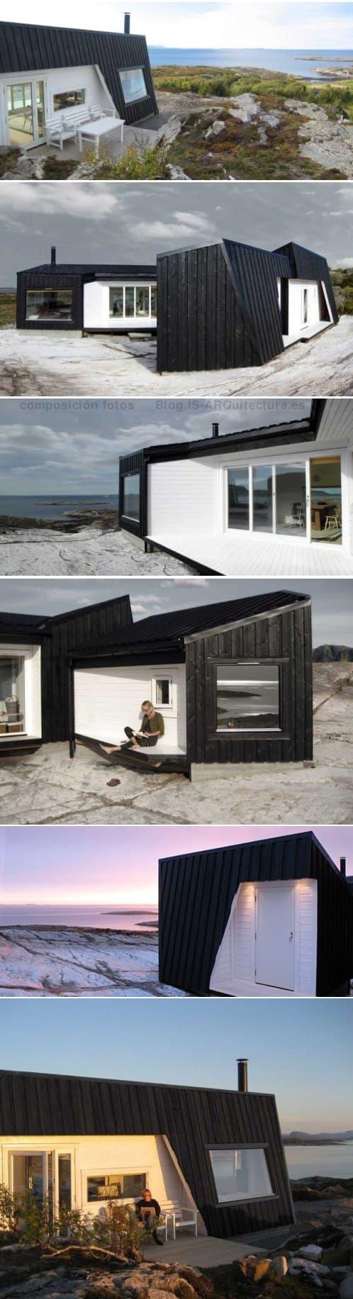 moderna cabaña en la costa Noruega. Fotos exterior