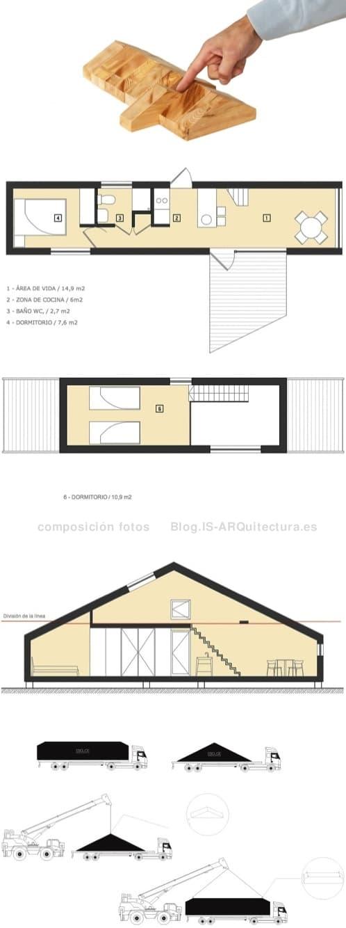 planos-casa-prefabricada-eslice. Plantas, Seccion y transporte