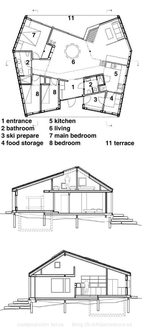 planos-refugio-nordmarka-madera-noruega