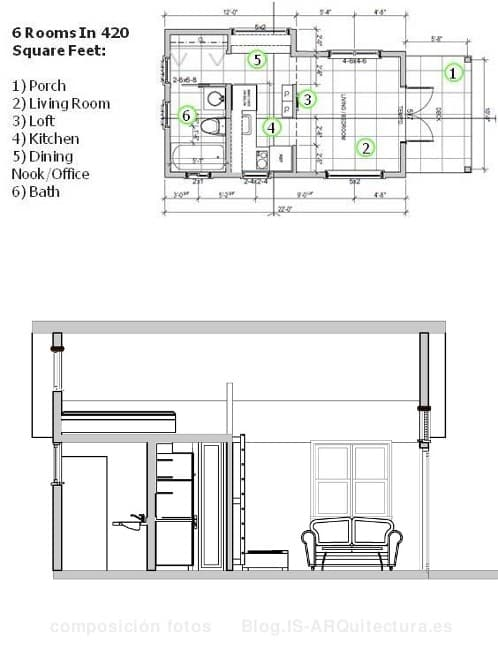 plano y sección-casa-prefabricada-patio_trasero