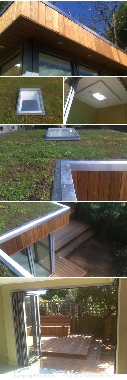 oficina-madera-para_jardin con cubierta de sedum y claraboya