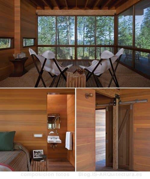 cabaña-madera-lago-flathead fotos del interior