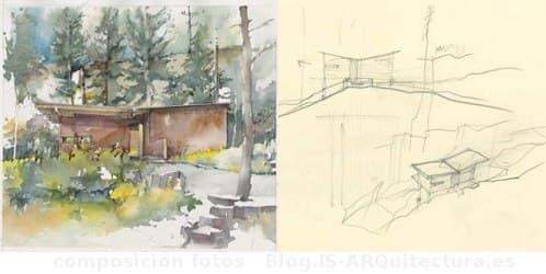 dibujos-cabaña-madera-lago-flathead
