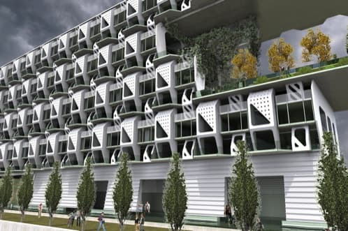 Edificio de apartamentos con módulos prefabricados