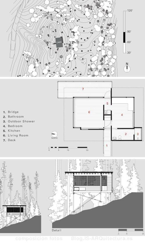 planos-cabaña-madera-lago-flathead