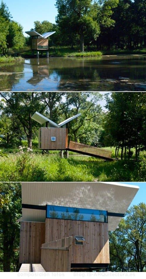 moderna-cabaña revestida de madera, casita de té