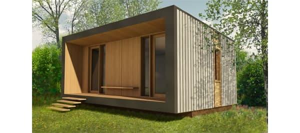Oficinas prefabricadas bureau vert hechas de madera for Casas y casetas prefabricadas