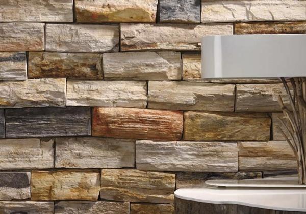 Revestimiento con piedra fosilizada for Revestimiento interior madera