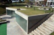 Baños públicos en un parque de Rosario (Argentina)