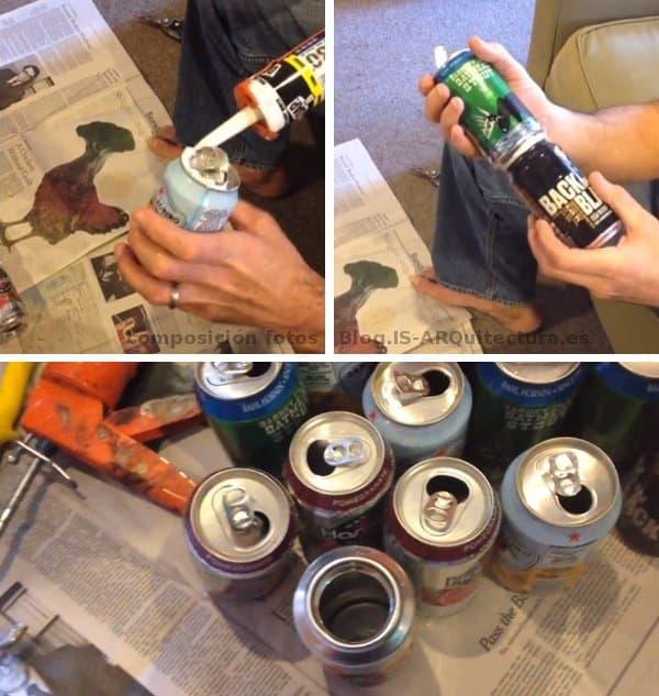 latas-refresco-recicladas-y-pegadas-silicona