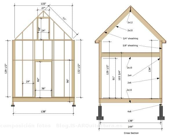 Planos para construir una casa diminuta de madera - Casas de madera planos ...